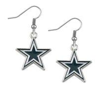 Wholesale Crystal Football Charms - silver Dallas Cowboys football team alloy drip earrings diy sport earring for football fans best gift