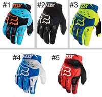 Wholesale Running Mittens - 5 Colors FOX Glove Motorbike Cycling Racing Gloves Motorcycle Men New Racing Bike Bicycle MTB Cycling Full Finger Protective Gloves