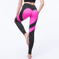 seksi yoga pantolonları toptan satış-Kalp Desen Seksi Yoga Pantolon Kadın Spor Seksi Kalça Push Up Tayt Nefes Koşu Tayt Leggins Atletik Egzersiz Koşu Pantolon