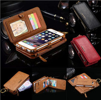 Wholesale Leather Cash Clip - Multifunction Combo Detachable Handbag Wallet Leather Case For iPhone 5 6 6S 7 Plus iPhone7 With Belt Clip Zipper Pocket 16 Cash Card Slots