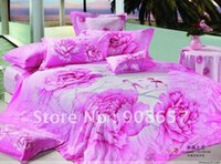 Wholesale Magenta Comforter Set - Active Printed Cotton bed sheets 4pc Queen bedding set magenta flower romantic floral pattern New Comforter Quilt Cover bedlinen