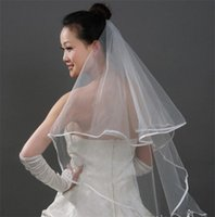 Wholesale Cheap Vintage Wedding Veils - Ribbon Edge Two Layer Yam Dyed Bridal Veil Elegant Vintage Wedding Accessory Cheap Beautiful for Happy Marriage V07
