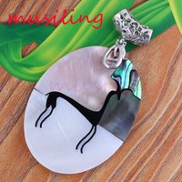 Wholesale Oval Shell Pendants - Natural Abalone Shell Splicing Pendants Necklace Chain Pendulum Charms Oval Accessories Silver Plated European Trendy Jewelry For Women