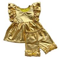 conjunto de mariposa cortos al por mayor-Colmena de algodón para niños Conjuntos de ropa Kids Girl boutique camiseta Mangas de mariposa Girls Tops + Shorts con volantes Ropa de 34styles