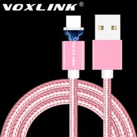 Wholesale Iphone5 Usb Charging Cable - VOXLINK 1M Nylon Braided Magnetic Cable Fast charging USB Cable Charge Sync Date Line For iphone6 iphone5 5s 5c For ipad