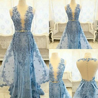 Wholesale Dresse Women - Sheer Neckline Prom Dresses Long Lacing Appliques Sleeveless Formal Cocktail Dresse For Women Sheer Back Covered Button Evening Gowns