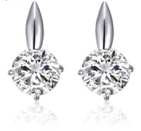 Wholesale Cheap Good Quality Earrings - Micro set three jaw AAA zircon glittering silver earrings platinum plated earring fashion stud good gift cheap high quality free shipping