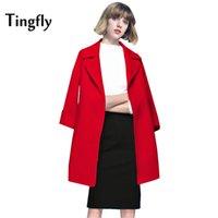 Wholesale Long Wool Coat Slim Camel - Tingfly 2017 Autumn Winter Fashion Women Wool Coat Slim Elegant Woollen Blends Outerwear Overcoat Camel casaco feminino