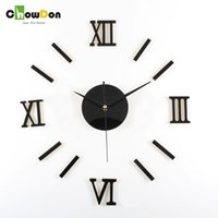 Wholesale Black Red Wall Clocks - 2016 New Arrival Europe Acrylic Roman Numerals Needle Living Room Wall Clock Diy Home Decoration Red Black