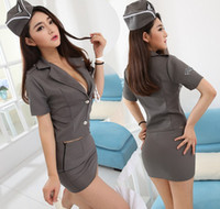 Wholesale Sexy Police Girl Uniform - hot sexy lingerie porno erotic lingerie porno costumes airline stewardess police women uniform sexy girl fantasia quente hot erotic dress