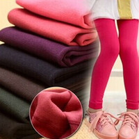 Wholesale White Tights Children - Kids girls fleece Leggings Hot Children spring winter solid color warm Pants Velvet Legging Knitted Thick Slim Cotton Leggings pants 3-10T