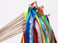 Wholesale Romantic Items - New Romantic Wedding Decoration Colorful Ribbon Wands With Bells Party Holiday Fairy Stick Shooting Props Cheering Item Free Shipping