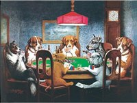 Wholesale Dogs Playing Poker - Framed Dogs Playing Poker 2#, Genuine Handpainted Animal Wall Art oil Paintings On Thick Canvas for home decor Museum Quality Multi Sizes