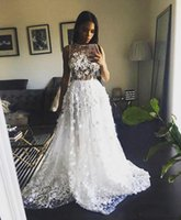 Discount heavy beaded wedding gowns 2017 Sexy Wedding Dresses with Heavy 3D Flowers Beaded Sheer Top A line Sweep Train Bridal Gowns