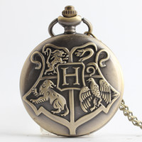 Wholesale Necklace Pocket Watches - Harry Gryffindor Slytherin Hufflepuff Ravenclaw Hogwarts Badge Pocket Watch Bronze Watch Necklace Potter Fashion Jewelry Drop Shipping
