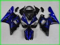verkleidung moto großhandel-Moto Verkleidungssatz für YAMAHA YZFR1 00 01 Spritzgussform YZF R1 2000 2001 YZF1000 yzfr1 Blaue Flammen Verkleidungen