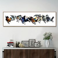 Wholesale Modern Painting Horses - Eight handsome horses Chinese ink painting modern art Collection commemorative home bedroom office background wall decor mural