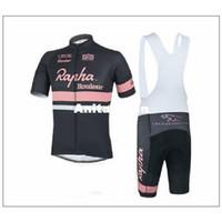 Wholesale Rapha Shorts - 2015 top sales Rapha Rouleur bike wear cycling jerseys black pink short sleeves cycling size XS-4XL black white none bib set
