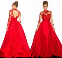 Wholesale Robes Pageant - 2016 Red Illusion Long Sleeve Prom Dress Sexy Backless A Line Satin Occasion Dresses Evening Wear Formal Gowns Pageant Robe De Soiree Cheap