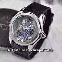 Marca de luxo Mens Watch Bubble Skeleton 46MM Big Dial Tourbillon Esqueleto Transparente Gent Watch Dial preto / prata Cheap Best Watch Leather
