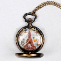 Wholesale Old Fashioned Necklace Watch - New Paris Vintage Eiffel spring butterfly pocket watch Women Necklace old fashion fashion woman Jewelry