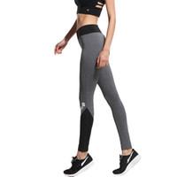 heiße leggings grau großhandel-Wholesale-2016 Fitness Schwarz Grau Patchwork Yoga Hosen Frauen Leggings Sporthose Laufendes Mädchen Gym Kleidung Hot Athletic Sportswear