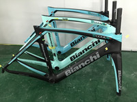 Wholesale Aero Carbon Fork - bianchi XR4 carbon road frame T1000 green aero bicycke carbon frame +seat post+clamp+headset+fork with BB386 size 50cm 53cm 55cm 57cm