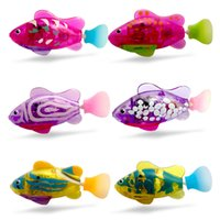 Wholesale Saltwater Led Lights - LED Light up 8 Colors Turbot Robo Fish Kids Silver Bath Toys Electronic Pets Robotic Fish Christmas Gifts