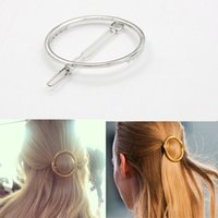 Wholesale Cheap Lip Jewelry - Wholesale-Circle Lip Triangle Hair Pin Clip Hairpin Barrettes Women Girl Cheap Fashion Gold Silver Metal Round Hair Jewelry AccessoryHP022