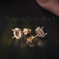 Wholesale Diamond Mounting Princess Cut - Princess Cut 5.5mm Solid 18K Rose Gold Semi Mount Setting Earrings, Real Gold Diamonds Stud Earrings For Women WE013