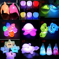 Wholesale frog led lights - Novelty Animal Frog Dog Turtle Seven Colors Changeable Led Flashing Night Lights for Halloween Christmas Birthday Gifts 40 styles C2626