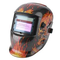 Wholesale mma caps - Energia Solar Auto Escurecimento Máscara Ajustável Gama de Solda TIG MIG MMA Máscara de Solda Elétrica Capacete Cap Projeto Do Crânio Flamej