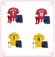 Wholesale Printed Football Jerseys - Madrid Athletic 17-18 season home and away kids jerseys J.M.GIMENEZ CARRASCO GRIEZMANN THOMAS CORREA Atletico Madrid Football jerseys.