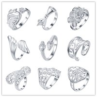 Wholesale Cheap Quality Gifts - 2016 Mixed Order 925 Silver Ring opening cool party jewelry classic glamor style top quality cheap Hot 9pcs   lot free shipping