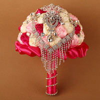 Wholesale colorful bridal bouquets - 2017 Wedding Bouquet Bridal Decorations with Beading Crystal Tassels Multicolor Bling Metal Colorful Bride Hand Holding Flowers