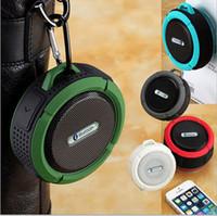 Wholesale bike mini sports speaker resale online - Mini Portable C6 Waterproof Bluetooth Speaker with Microphone Suction Cup for Car driver Sports Shower Outdoor bike Speaker Camping Speaker