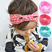 bebek düğüm kravat baş bantları toptan satış-2016 Yeni Bebek Çocuk Düğüm Bantlar Örgülü Headwrap Polka Dot Çapraz Düğüm Bebek Türban Kravat Düğüm Başkanı wrap çocuk Saç Aksesuarları 8 renkler