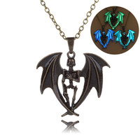 Wholesale Bat Pendants - 2017 Skull bat night Luminous clavicle Pendant Necklace long Chain Collar choker necklace women Statement Jewelry Wholesale free shipping