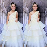 Wholesale One Shoulder Wedding Organza Pink - Ivory Flora One Shoulder Girls Pageant Gowns Lace And Organza Tiered Flower Girl Dresses For Wedding Children Prom Party Dress Custom Made