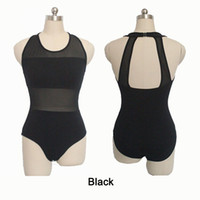 Wholesale Dance Costumes Leotards - In stock Girls Practice Dancewear Black Ballet Dance Leotards Cotton Lycra with Mesh Tank Ladies Performance Costume