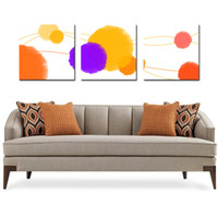 Wholesale original digital art for sale - 3 Pieces Original Abstract geometric patterns drawing modern geometry yellow grey red art wall in Home decoration painting