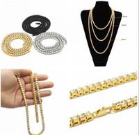 qualität gold ton schmuck großhandel-Mens Gold Tone Iced Out Punk Halskette Hohe Qualität Hip Hop Gold Gun Silberkette 1 Reihe Simulierte Diamant Halskette 20 24 30inch Mens Jewelry