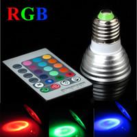 iluminação 12v venda por atacado-RGB 3 W E27 GU10 MR16 CONDUZIU a Luz Do Ponto Levou Lâmpada Do Bulbo com Controle Remoto CE RoHS Certificado Suporte