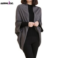 Wholesale three quarter cardigan coat - Wholesale- 2016 Fashion Korean Style Women Bat Sweater Long Knitted Cardigans Autumn Three Quarter Sleeve Coat Jacket Outwear Tops Female