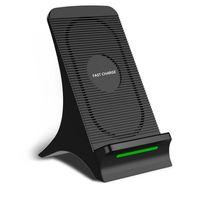 qi bobini şarj toptan satış-Fan Taşınabilir 2 Bobinler Hızlı Kablosuz iPhone XS Max için Şarj Standı Yükseltme Soğutma ile Qi Hızlı Kablosuz Şarj