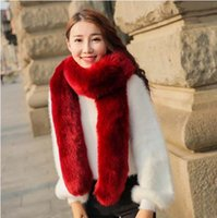 Wholesale Blue Fur Scarf - 2016 FW Rabbit Fur Scarves For woman Autumn Lady's Echarpe Genuine Rex Rabbit hair Scarves Wraps Winter Women Fur Accessory Rings Females Ne