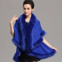 capa de invierno azul real al por mayor-Real Blue Faux Fur Shrug Cape Stole Wrap Mantón Invierno Otoño Nupcial Prom Evening Pageant Party Elegante Tamaño Regular Mujeres Bolero Moda