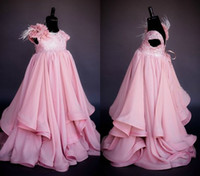 bebek pembe şifon toptan satış-Güzel Pembe Prenses Kızlar Pageant Elbise Düğün Bebek Parti törenlerinde için 2017 Ekip El Çiçek şifon İmparatorluğu Çiçek Kız Elbise