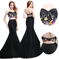 Wholesale Cocktail Long Dress For Bridesmaid - Hot Sale Two Piece Mermaid Formal Evening Dresses 3D Floral Embroidery Plus Size 2017 Real Image Prom Pageant Party Gowns For Sweet 16