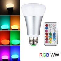 base ampoules achat en gros de-10W RGBW Ampoule 2-en-1 Réglage du temps Ampoule LED E26 E27 Base A19, 800 lumens, Ampoule à gradation avec télécommande